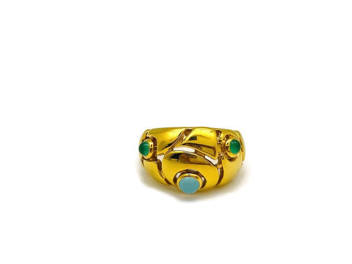 Blue Topaz & Green Onyx Floral Ring Gold