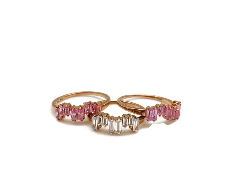 Rose Gold Stackable Ice Rings