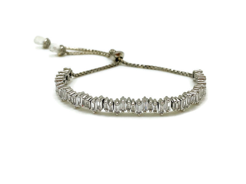 White Zircon Ice Toggle Bracelet in Silver