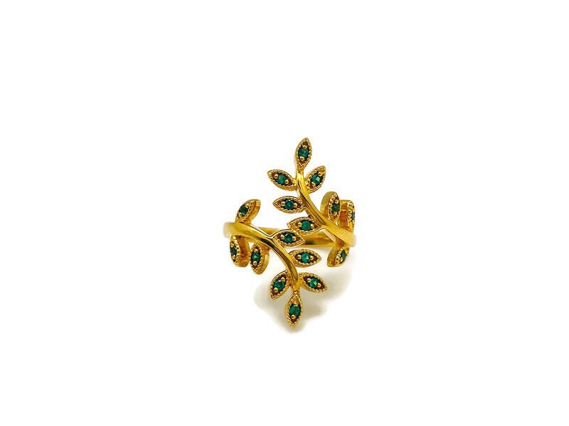 Green Onyx Branch Ring