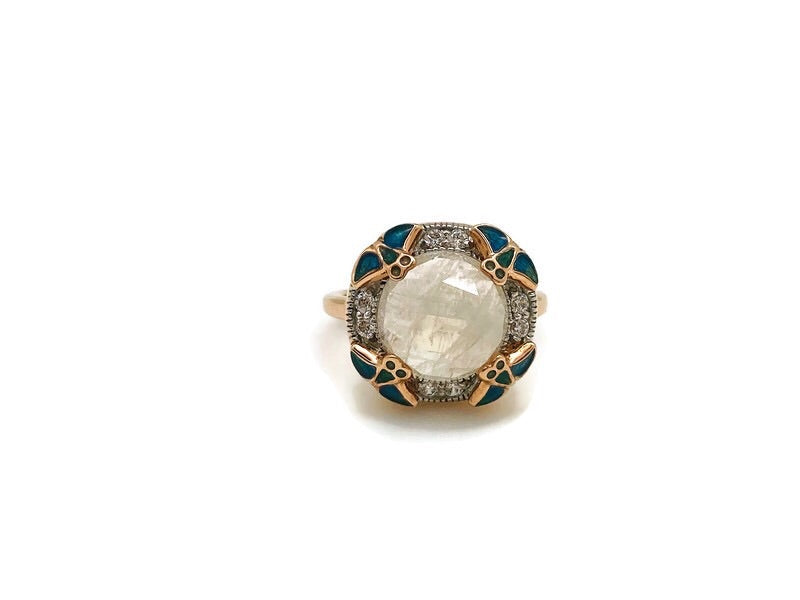 Rose Gold Superhero Rainbow Moonstone Ring