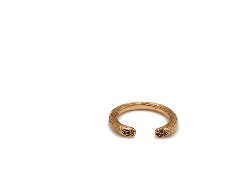 Rose Gold Open Rose Stem Ring