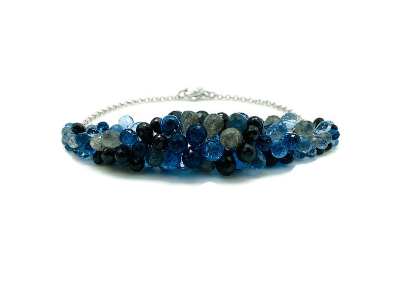 Blue, Black & Gray Rock Candy Bracelet