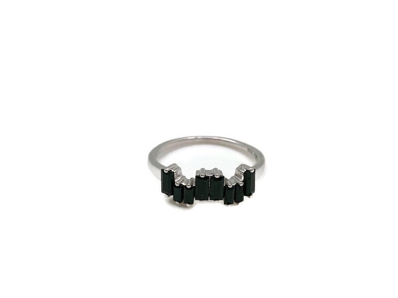 Silver Black Spinal Ice Ring