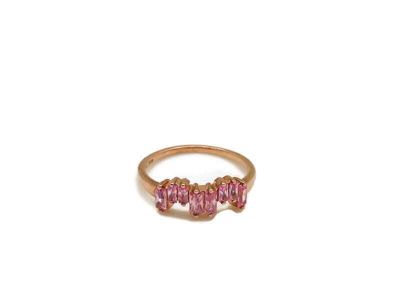 Rose Gold Pink Zircon Ice Ring