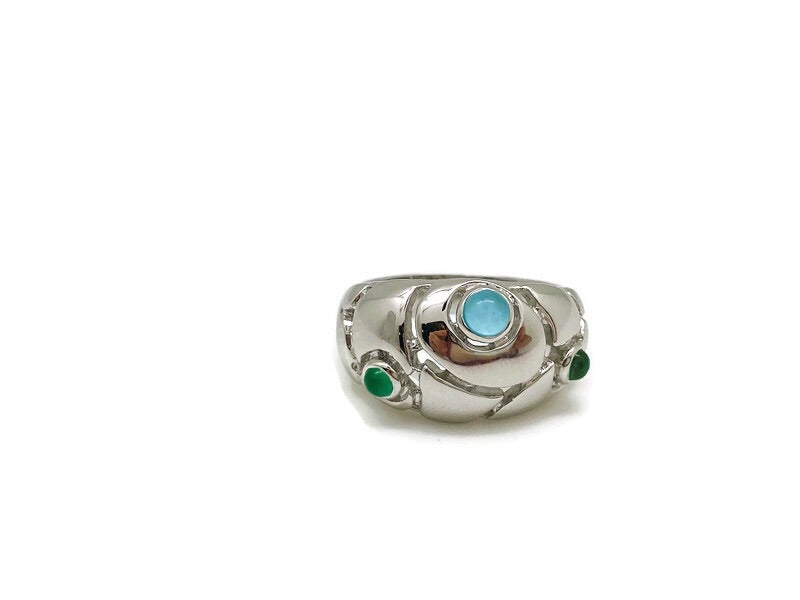 Blue Topaz & Green Onyx Floral Ring