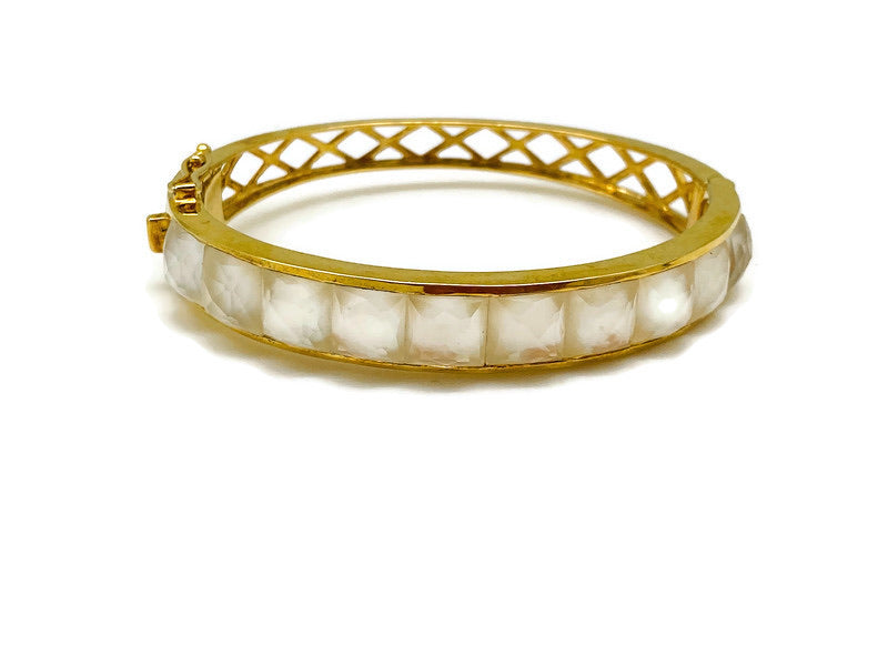 Gold Checkerboard Mother of Pearl Bracelet