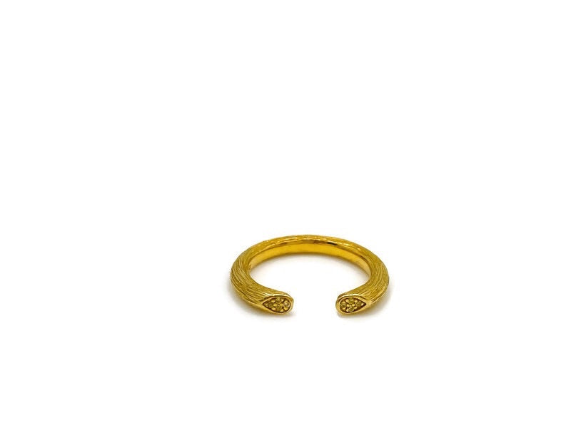 Citrine Open Rose Stem Ring