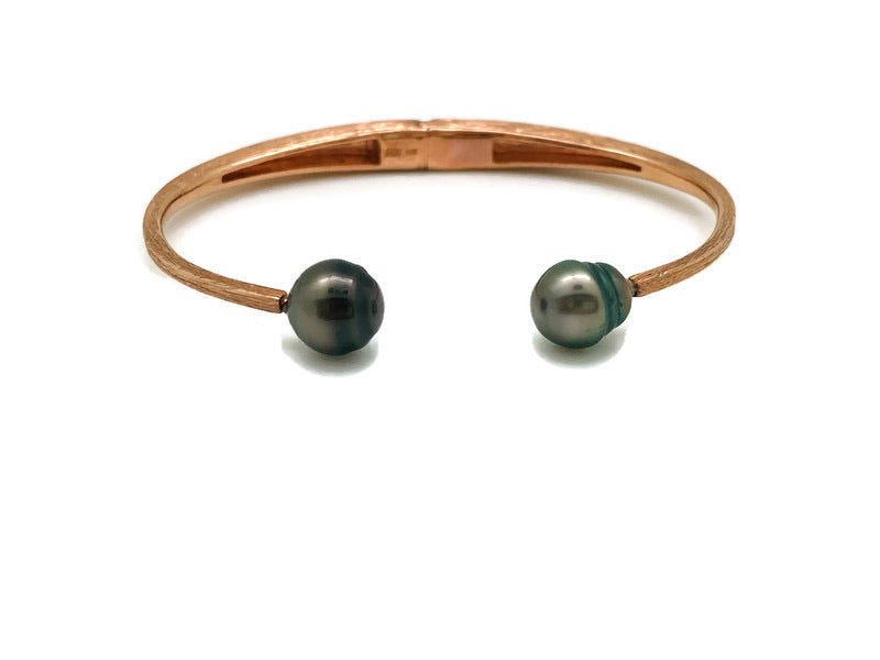 Tahitian Pearl Open Brushed Hinged Bracelet