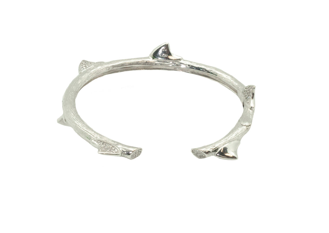 Peruvian Thorn Hinge Bracelet in Silver with White Stones