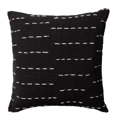 Black Cushion with White Stitching