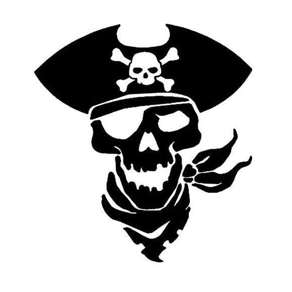 Pirate Skull vinyl decal sticker for Car/Truck Window tablet ship eye patch raid