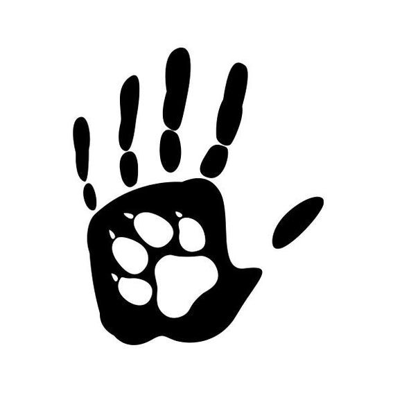 Hand and Paw print vinyl decal sticker for Car/Truck Window Bottle cat dog pet