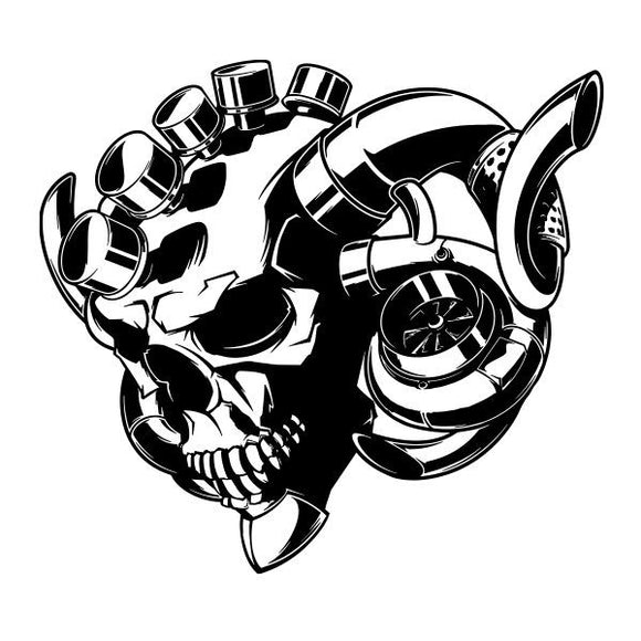 Turbo Skull vinyl decal sticker for Car/Truck Window RAM horn racing computer