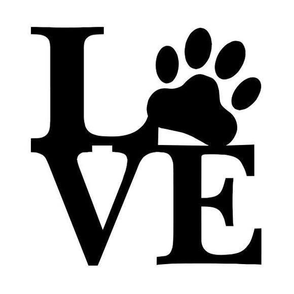 Pet Love vinyl decal sticker for Car/Truck Window computer mac dog cat paw