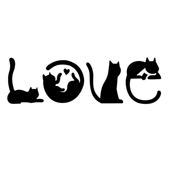 Cat love vinyl decal sticker for Car/Truck Window Bottle pet animal feline heart