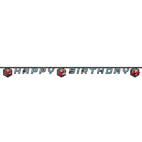 """Happy birthday"" banner med Spiderman"