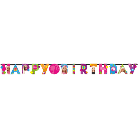 """Happy Birthday"" banner med Barbie"