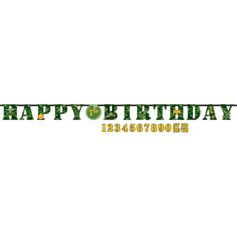 "Camouflage ""happy birthday"" banner"