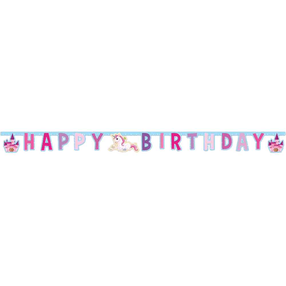"""Happy birthday"" enhjørninge banner"