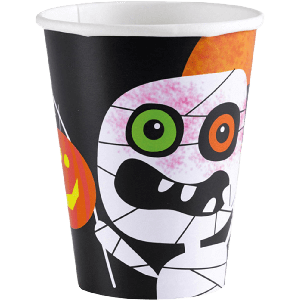 Halloween papkrus med monster - 26 cl - 8 styk