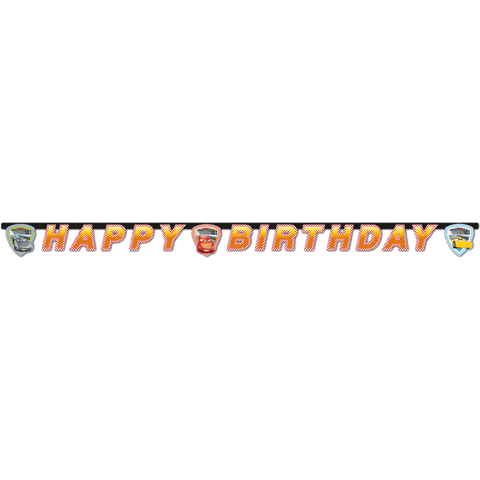 """Happy birthday"" banner med Biler"