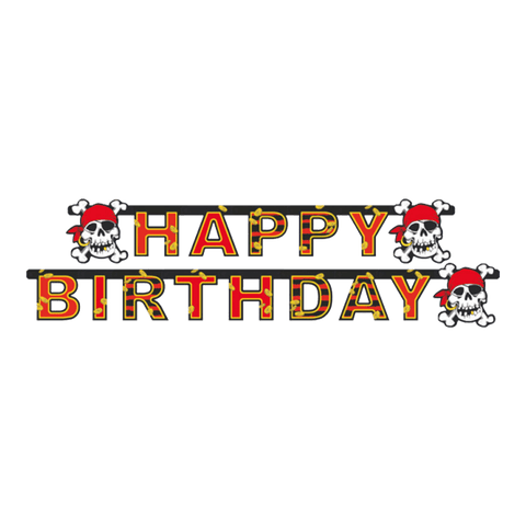 """Happy Birthday"" banner med Jolly Roger"