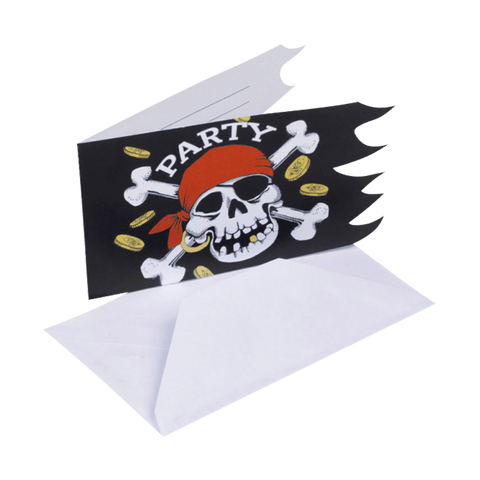 "Jolly Roger ""party"" invitation med hvid kuvert"