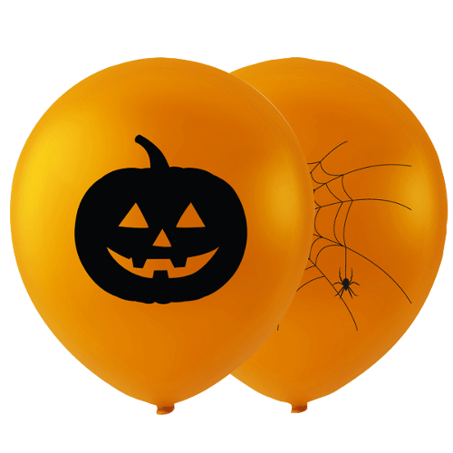 Orange kæmpeballoner med Halloween print