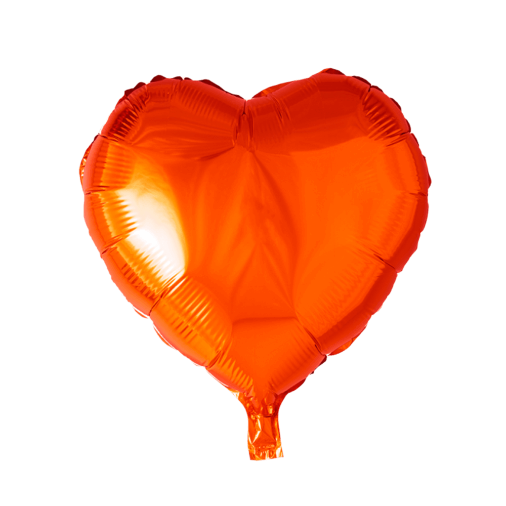 Orange hjerte folieballon
