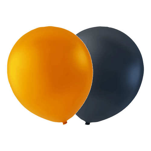 Sort og orange latexballon til Halloween