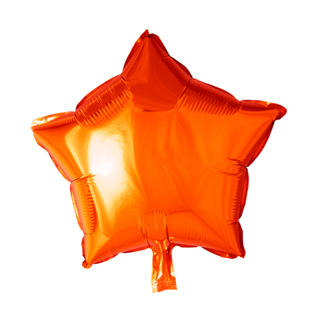 Orange stjerne folieballon