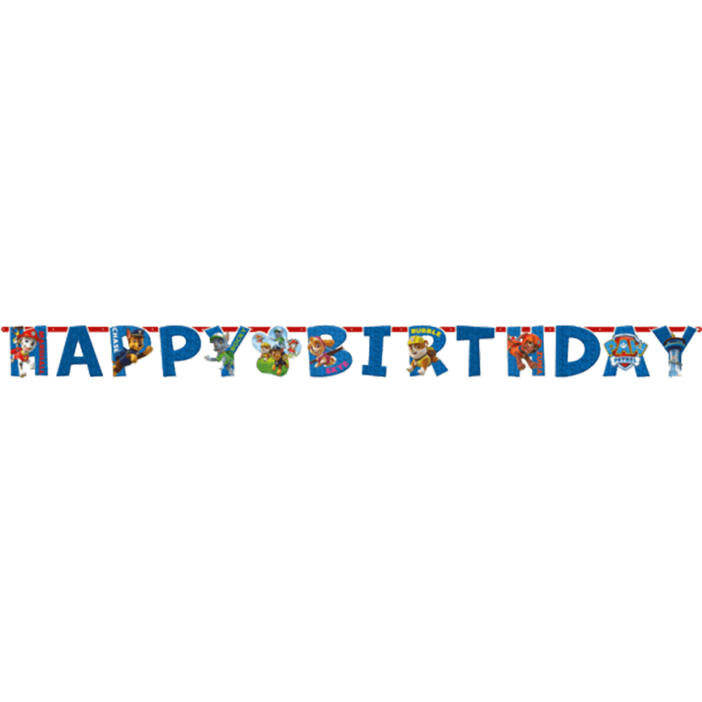 "Paw Patrol banner med skriften ""Happy Birthday"""