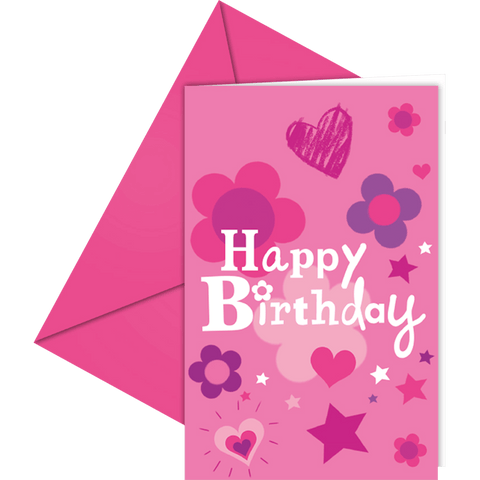 """Happy birthday"" invitation i pink med kuvert"