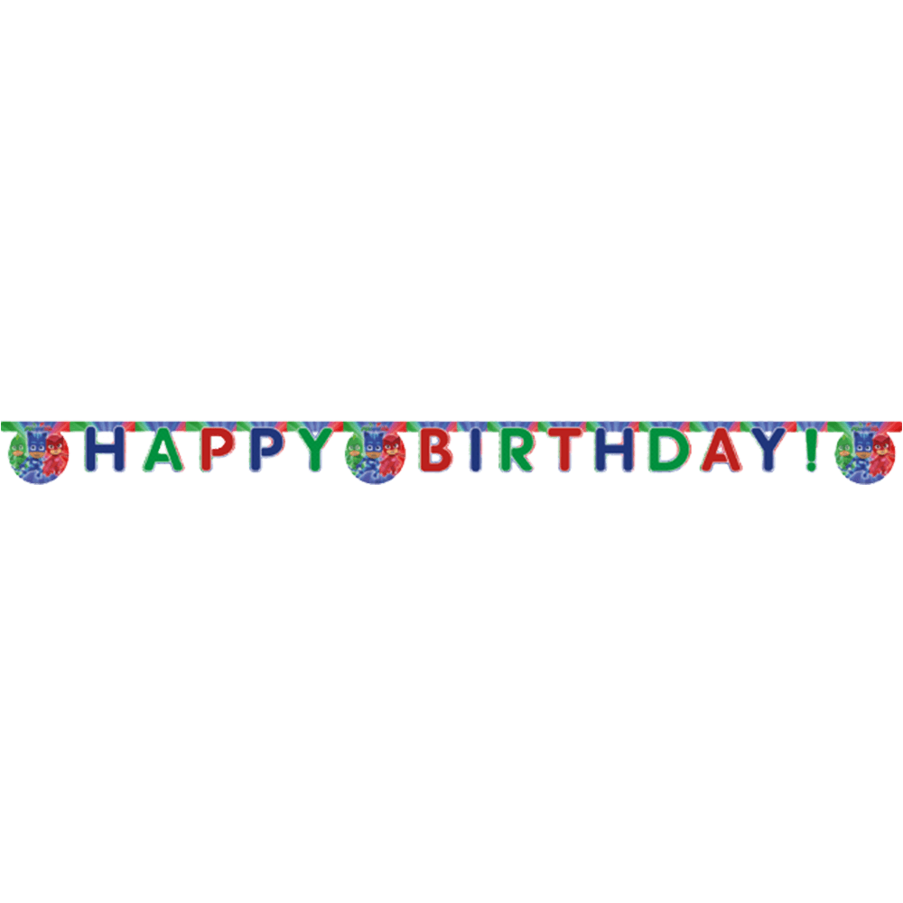 """Happy Birthday"" banner med PJ Masks"