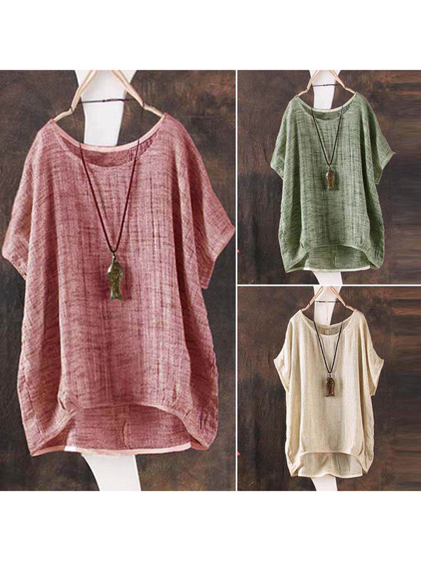 Crew Neck Short Sleeve Linen Solid Plus Size Blouses &  Shirt