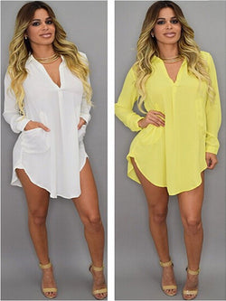Shirt Collar Casual Irregular Chiffon Shirt Dress