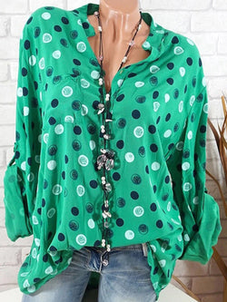 Polka Dots Stand Collar Long Sleeve Blouses & Shirt