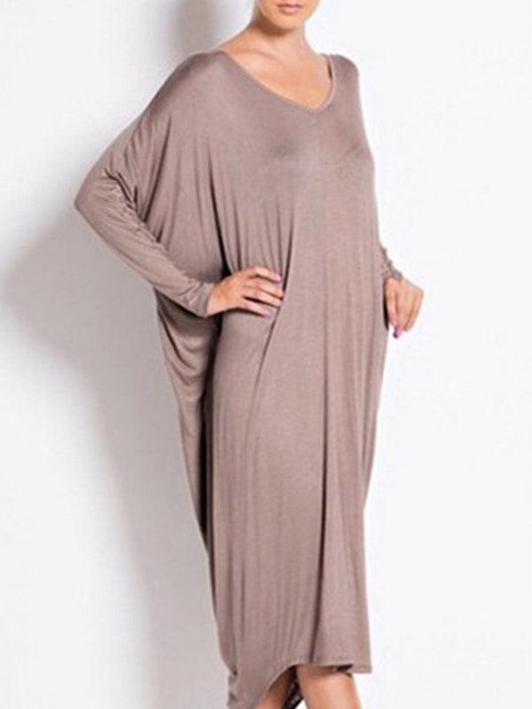 Brown Casual Cocoon V Neck Dress