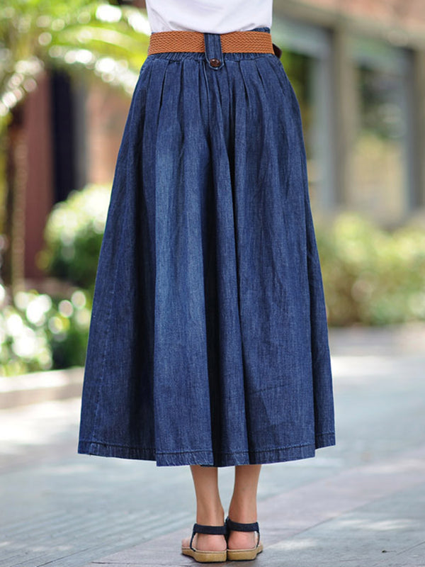 Pockets Gathered A-line Buttoned  Denim Casual Plain Plus Size Skirt