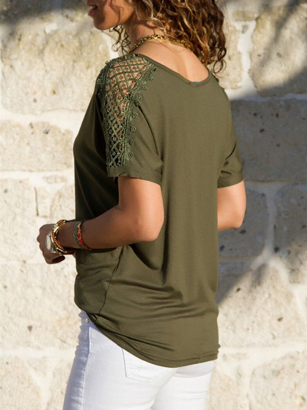 Solid V Neck Basic T-Shirt