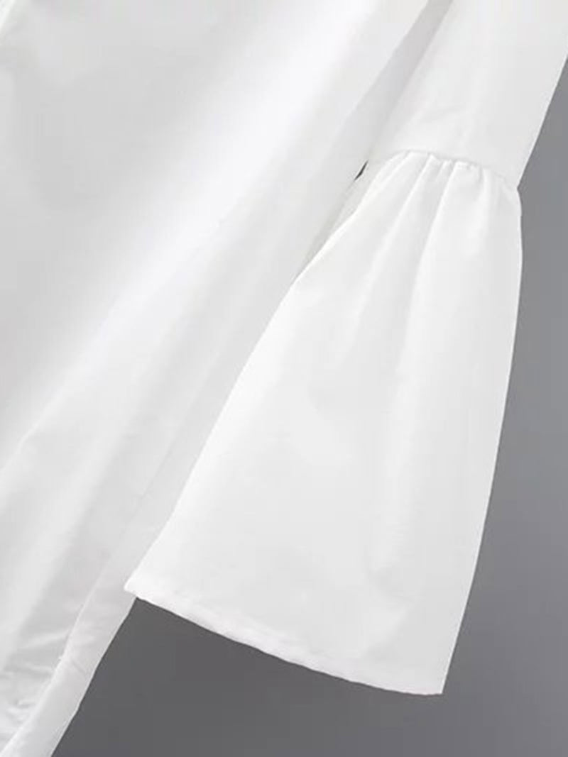 White Plain Basic Polyester Dress