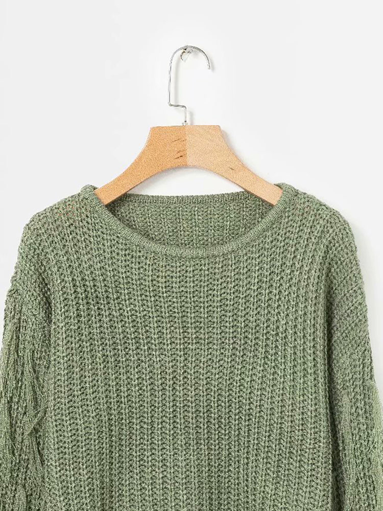 Knitted Elegant Crew Neck Knitted Sweater