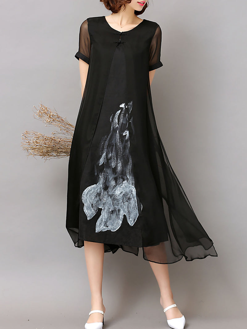 Black Casual Slit Polyester Midi Dress