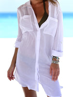 White Long Sleeve Pockets Blouses & Shirt