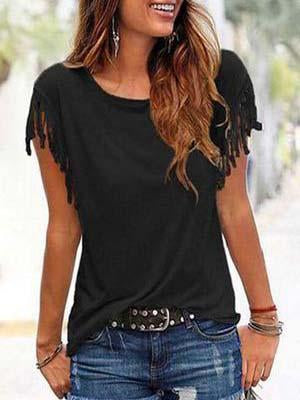 Round Neck Tassel Patchwork Plain T-Shirts