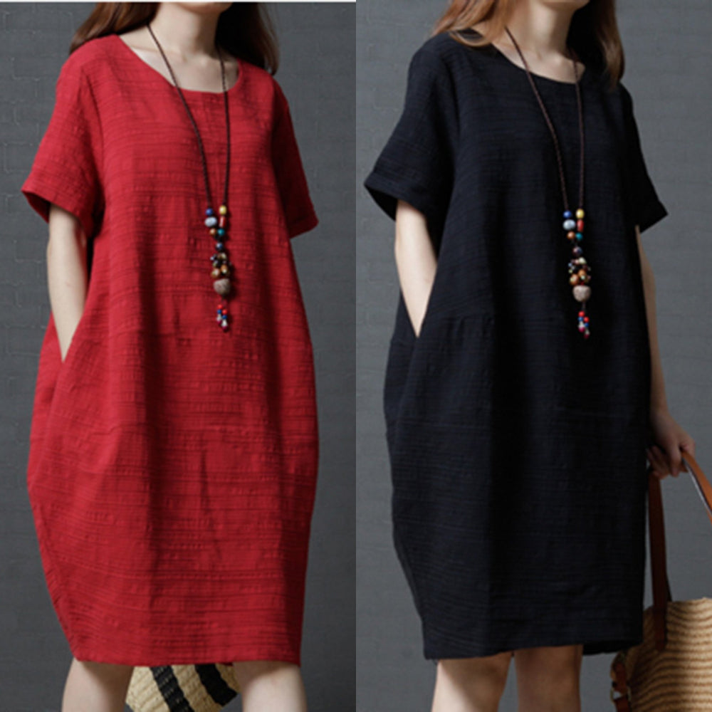 Plain Cocoon Casual Dress