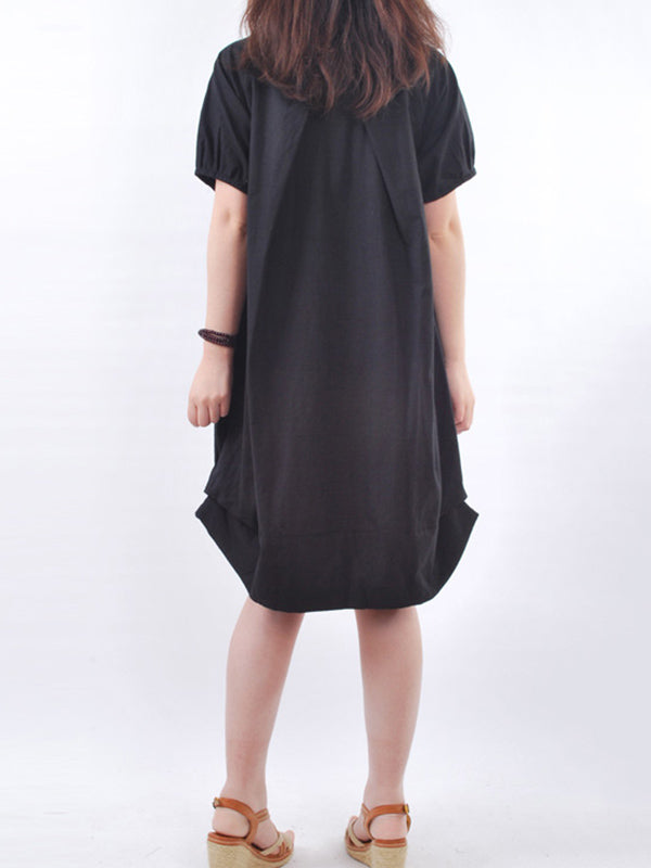 Black Solid Buttoned Cocoon Short Sleeve Casual Dress
