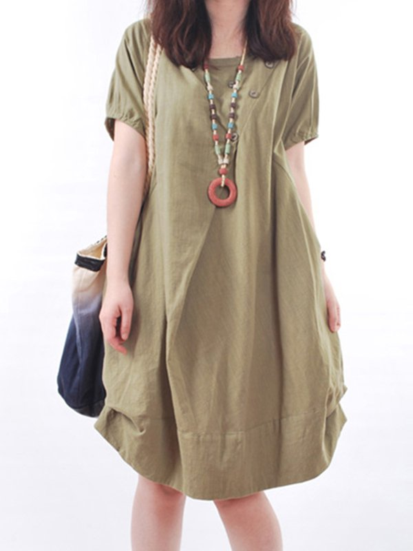 Short Sleeve Pockets Casual Dress
