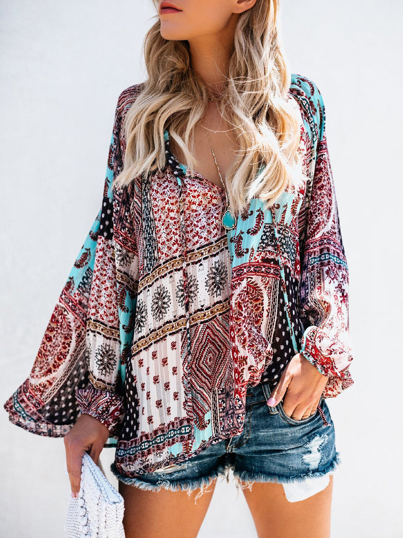 Boho Long Sleeve Geometric Printed V Neck Blouse